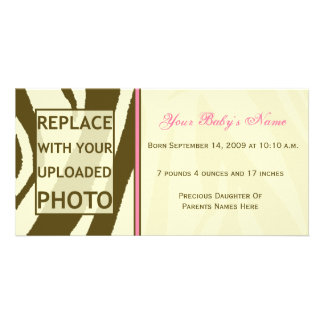 Brown Zebra Print and Pink Baby Girl Photo Card