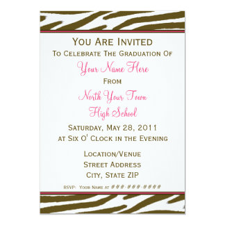 Brown Zebra Print Graduation Invitation - 2011