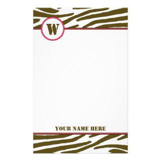 Brown Zebra Print Monogram Stationery