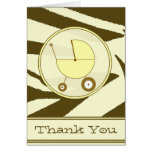 Brown Zebra Print / Yellow Baby Carriage Thank You Note Card