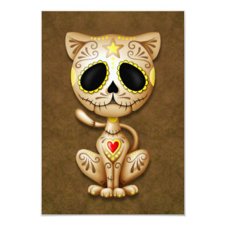 Brown Zombie Sugar Kitten Cat 3.5x5 Paper Invitation Card