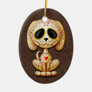 Brown Zombie Sugar Puppy Christmas Ornament