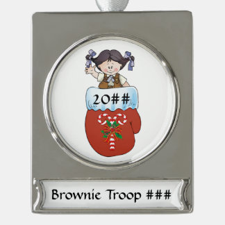 Brownie Mitten Black Hair Silver Plated Banner Ornament