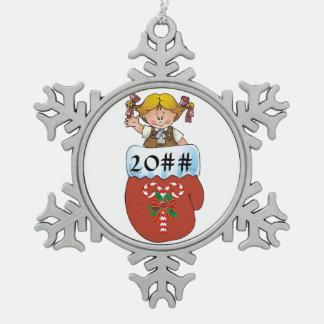 Brownie Mitten Blonde Snowflake Pewter Christmas Ornament