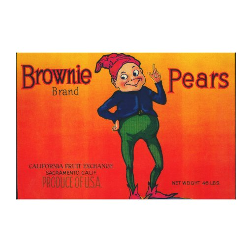 Brownie Pear Crate Label Canvas Prints