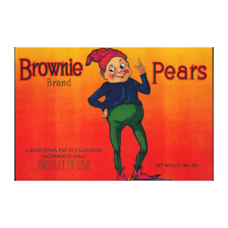 Brownie Pear Crate Label Canvas Print