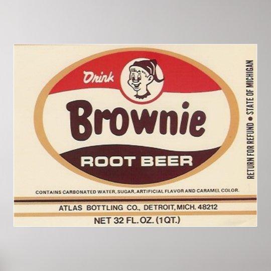 brownie root beer label poster