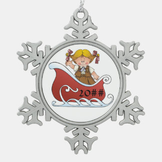 Brownie Scout Sled Blonde Snowflake Pewter Christmas Ornament