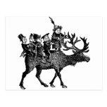 Brownies riding Reindeer Post Card