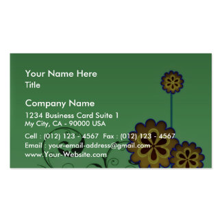 Brownish blossom and Greenish swirls Business Cards