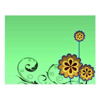 Brownish blossom and Greenish swirls Postcard