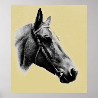 Brownish Yellow Horse Head Drawing Artwork Poster