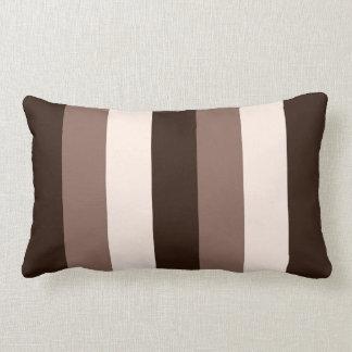 Browns & Cream Vertical Striped Design Lumbar Cushion