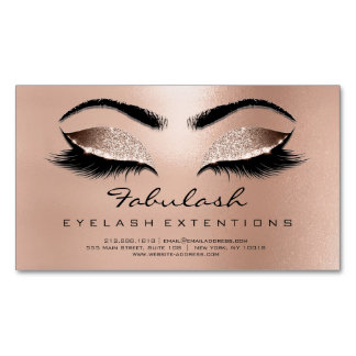 Browns Rose Gold Glitter Waxing Makeup Lashes Magnetic Business Card