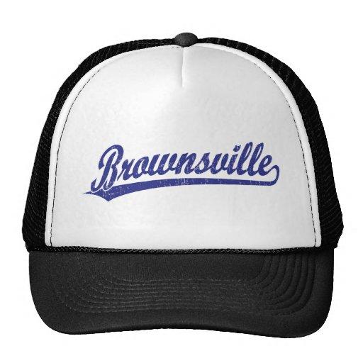 Brownsville script logo in blue mesh hats