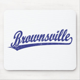 Brownsville script logo in blue mouse pad