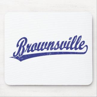 Brownsville script logo in blue mousepad