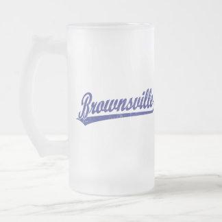 Brownsville script logo in blue coffee mugs