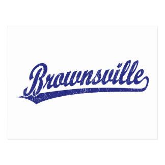 Brownsville script logo in blue postcard