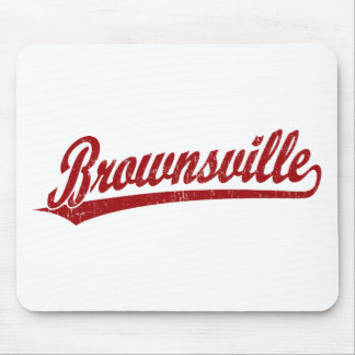 Brownsville script logo in red mouse pad