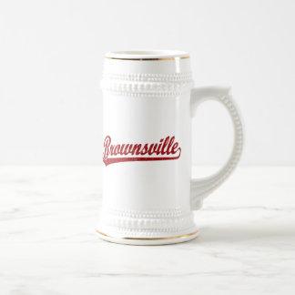 Brownsville script logo in red coffee mugs