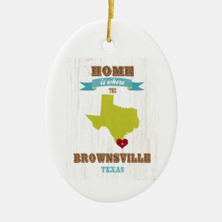 Brownsville, Texas Map – Home Is Where The Heart I Christmas Tree Ornaments