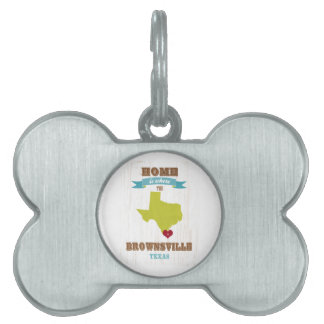 Brownsville, Texas Map – Home Is Where The Heart I Pet ID Tag