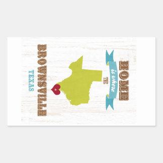 Brownsville, Texas Map – Home Is Where The Heart I Rectangular Sticker