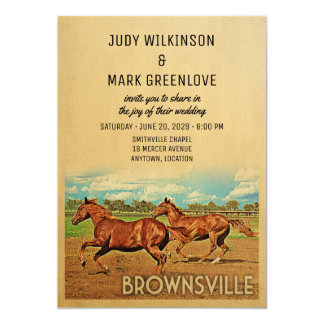 Brownsville Texas Wedding Invitation Horses