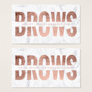 Brows cut out faux rose gold typography marble business card