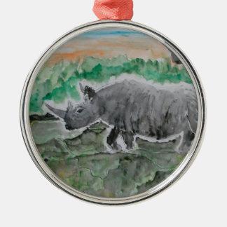 Browsing Rhinos Christmas Ornament