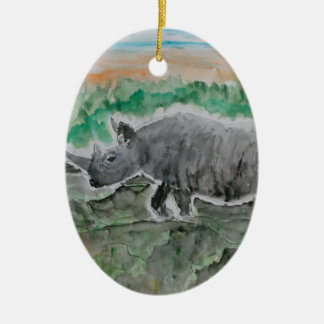 Browsing Rhinos Christmas Ornament