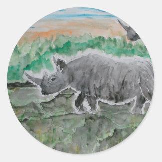 Browsing Rhinos Classic Round Sticker