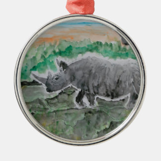 Browsing Rhinos Silver-Colored Round Decoration