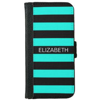Brt Aqua Black Horiz Preppy Stripe Name Monogram iPhone 6 Wallet Case