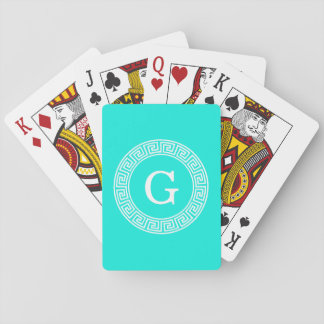 Brt Aqua Wht Greek Key Rnd Frame Initial Monogram Playing Cards
