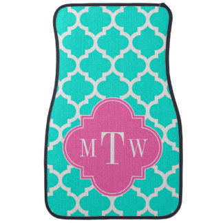 Brt Aqua Wht Moroccan #5 HotPink2 Initial Monogram Floor Mat