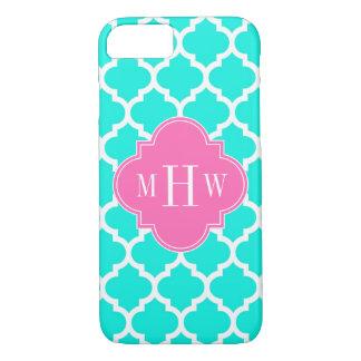 Brt Aqua Wht Moroccan #5 HotPink2 Initial Monogram iPhone 7 Case