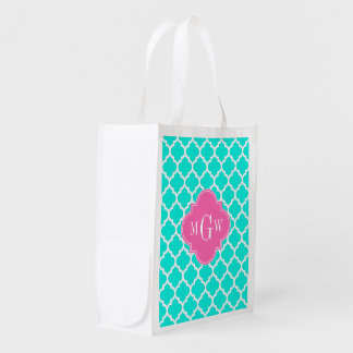 Brt Aqua Wht Moroccan #5 HotPink2 Initial Monogram Reusable Grocery Bag