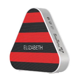 Brt Red Black Horiz Preppy Stripe #3 Name Monogram