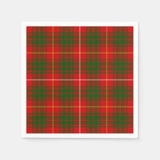 Bruce clan tartan red green plaid paper napkin