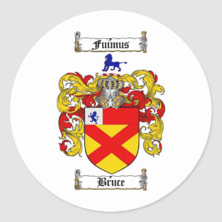 BRUCE FAMILY CREST -  BRUCE COAT OF ARMS ROUND STICKERS