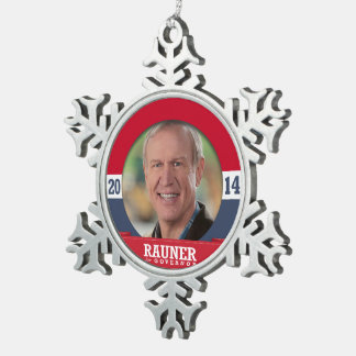 BRUCE RAUNER CAMPAIGN SNOWFLAKE PEWTER CHRISTMAS ORNAMENT