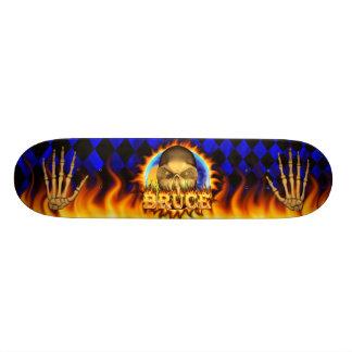 Bruce skull real fire and flames skateboard design