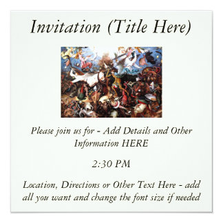 "Bruegel's ""The Fall Of The Rebel Angels"" (1562) 13 Cm X 13 Cm Square Invitation Card"