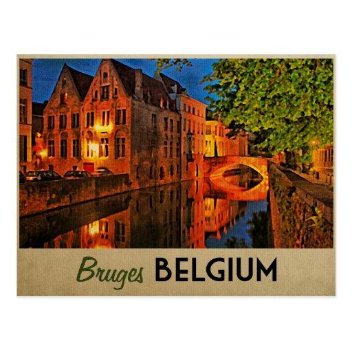 Bruges Belgium At Night Postcards