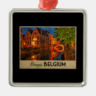 Bruges Belgium At Night Silver-Colored Square Decoration