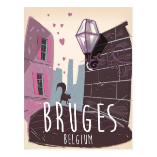 Bruges, Belgium cartoon travel poster Postcard