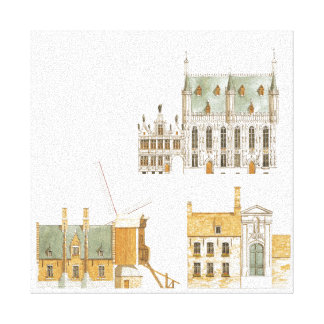 Bruges Belgium. Town hall and traditional Canvas Print