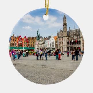 Bruges Market Place Photograph Round Ceramic Decoration